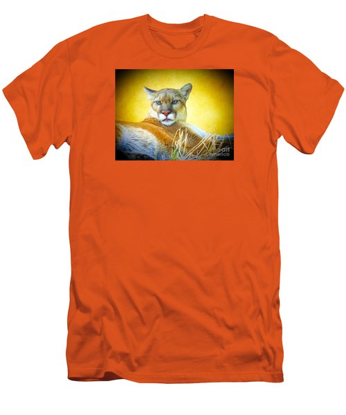 Mountain Lion Two Men's T-Shirt (Slim Fit) by Suzanne Handel