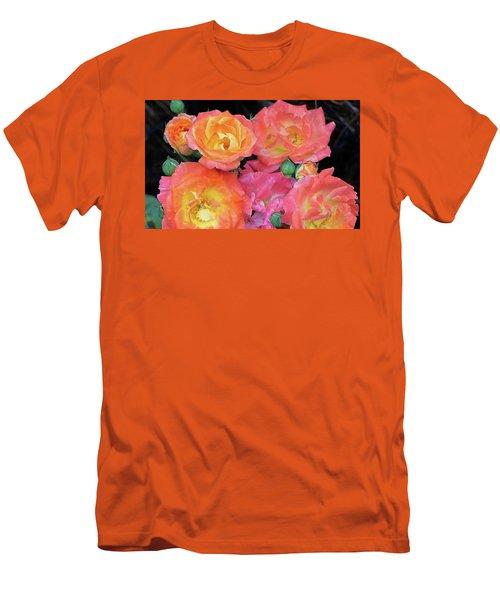 Multi-color Roses Men's T-Shirt (Slim Fit) by Jerry Battle