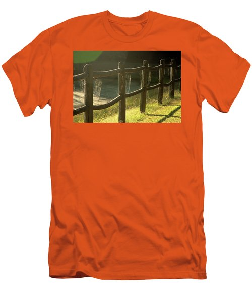 Multiple Spiderwebs On Wooden Fence Men's T-Shirt (Athletic Fit)
