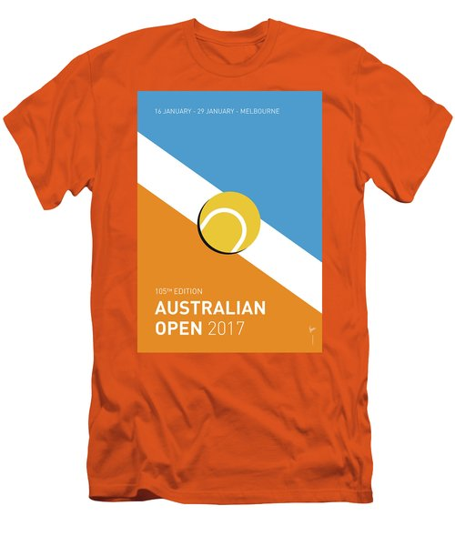 Men's T-Shirt (Slim Fit) featuring the digital art My Grand Slam 01 Australian Open 2017 Minimal Poster by Chungkong Art