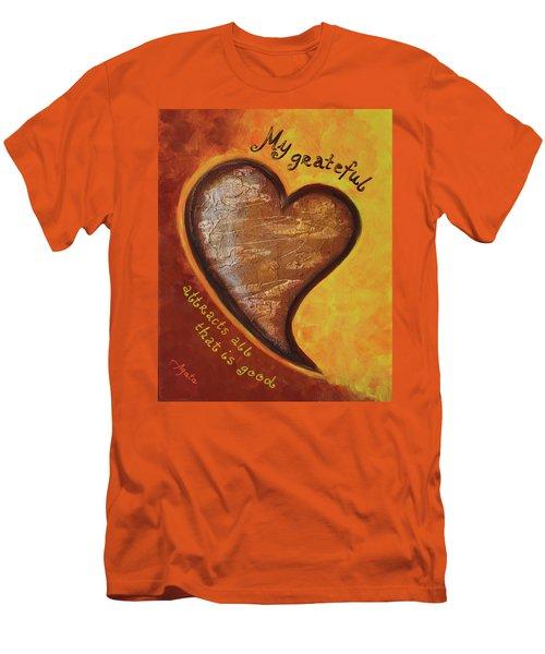 My Grateful Heart Men's T-Shirt (Slim Fit) by Agata Lindquist