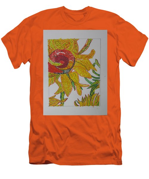 Men's T-Shirt (Slim Fit) featuring the drawing My Version Of A Van Gogh Sunflower by AJ Brown