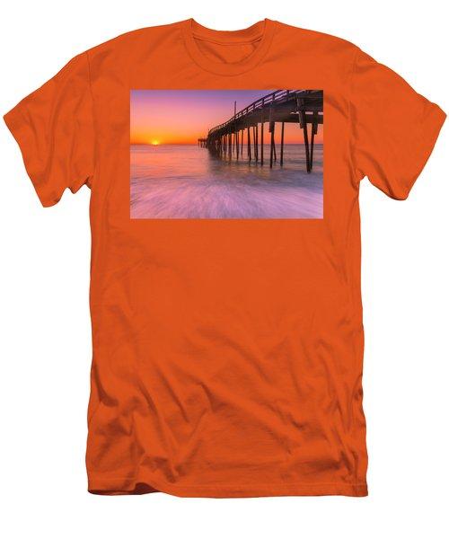 Nags Head Avon Fishing Pier At Sunrise Men's T-Shirt (Slim Fit) by Ranjay Mitra