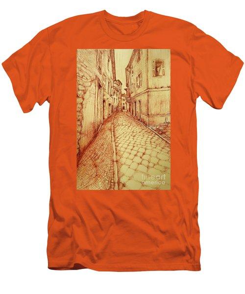 Men's T-Shirt (Slim Fit) featuring the drawing Narrow Street Of Lovere Italy by Maja Sokolowska