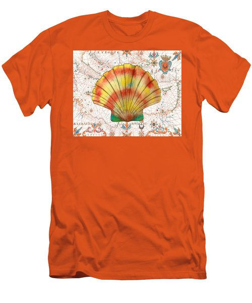 Men's T-Shirt (Slim Fit) featuring the painting Nautical Treasures-f by Jean Plout