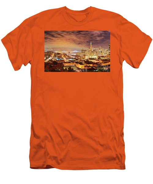 Night Panorama Of San Francisco And Oak Area Bridge From Ina Coolbrith Park - California Men's T-Shirt (Athletic Fit)