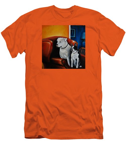 No Dogs On The Furniture Men's T-Shirt (Slim Fit) by Jean Cormier