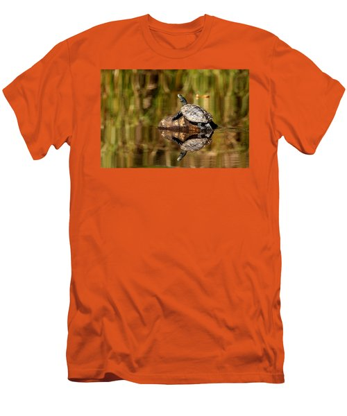Northern Map Turtle Men's T-Shirt (Slim Fit) by Debbie Oppermann