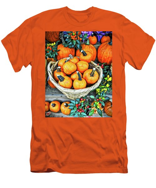 Men's T-Shirt (Slim Fit) featuring the photograph October Pumpkins by Joan Reese