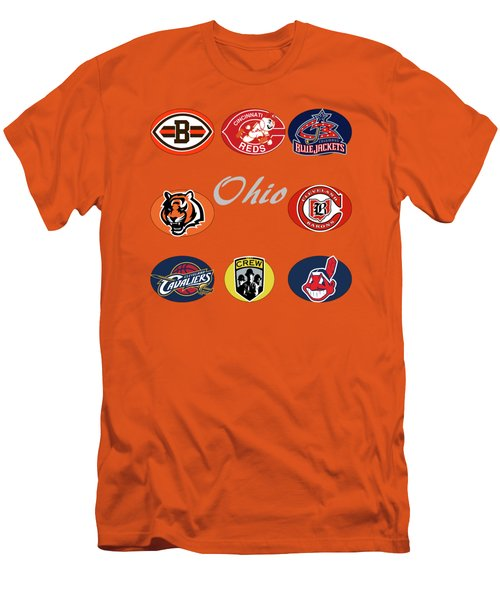 Ohio Professional Sport Teams Collage Men's T-Shirt (Slim Fit) by Movie Poster Prints