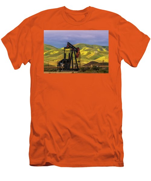 Men's T-Shirt (Slim Fit) featuring the photograph Oil Field And Temblor Hills by Marc Crumpler