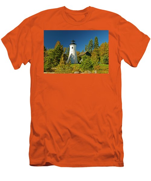 Old Presque Isle Lighthouse_9488 Men's T-Shirt (Slim Fit) by Michael Peychich