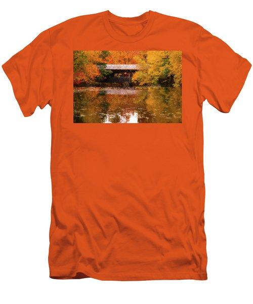 Men's T-Shirt (Athletic Fit) featuring the photograph Old Sturbridge Village Covered Bridge by Jeff Folger