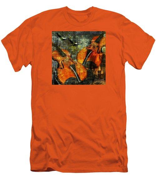 Only Music Heals A Broken Heart Men's T-Shirt (Slim Fit) by LemonArt Photography