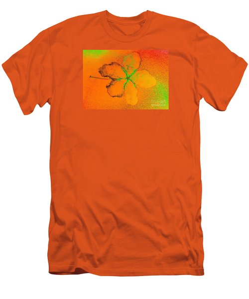 Orange Abstract Flower By Jasna Gopic Men's T-Shirt (Slim Fit) by Jasna Gopic