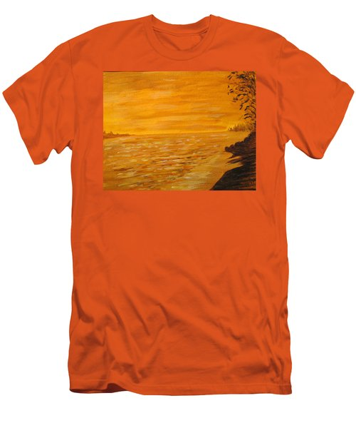 Men's T-Shirt (Slim Fit) featuring the painting Orange Beach by Ian  MacDonald