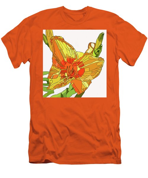 Orange Canna Lily Men's T-Shirt (Slim Fit) by Jamie Downs