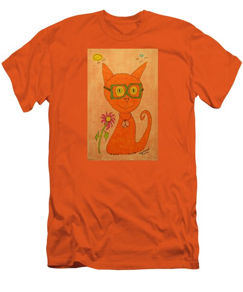Orange Cat With Glasses Men's T-Shirt (Athletic Fit)