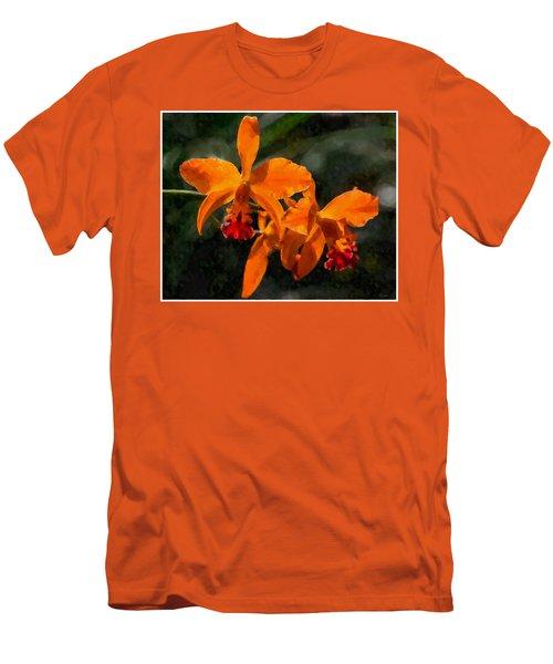 Orange Cattleya Orchid Men's T-Shirt (Slim Fit) by Kai Saarto