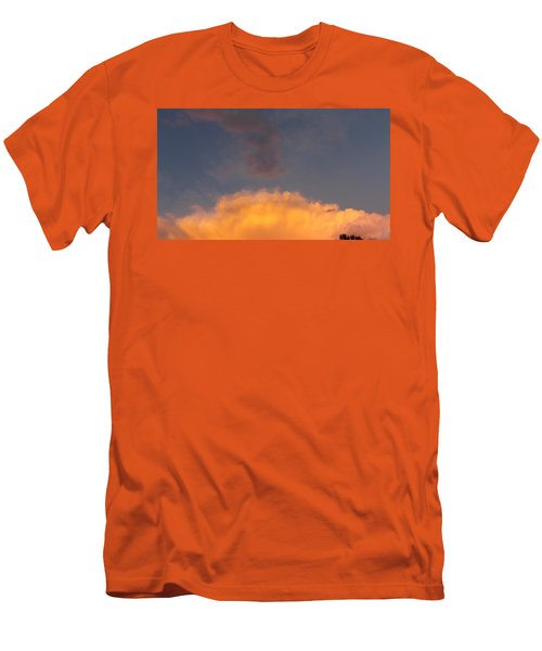 Orange Cloud With Grey Puffs Men's T-Shirt (Athletic Fit)