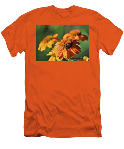 Men's T-Shirt (Athletic Fit) featuring the photograph Orange Cone Flowers In Morning Light by Sheila Brown
