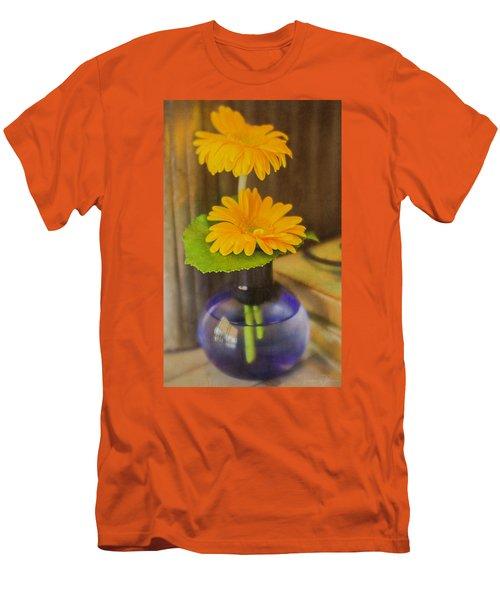 Orange Flowers Blue Vase Men's T-Shirt (Athletic Fit)