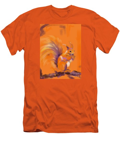 Men's T-Shirt (Slim Fit) featuring the painting Orange Forest Squirrel by Go Van Kampen
