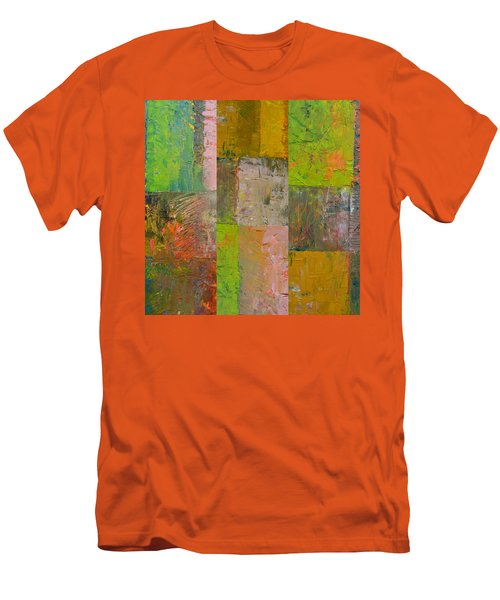 Men's T-Shirt (Athletic Fit) featuring the painting Orange Green And Grey by Michelle Calkins