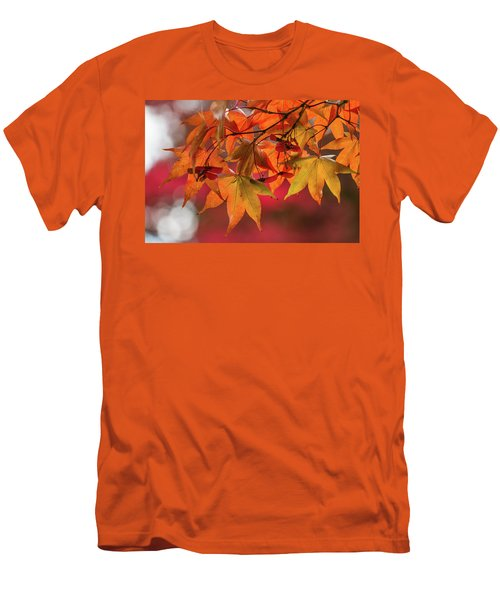 Men's T-Shirt (Athletic Fit) featuring the photograph Orange Maple Leaves by Clare Bambers