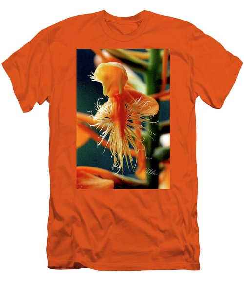 Fringed Orange Orchid Men's T-Shirt (Slim Fit) by Meta Gatschenberger