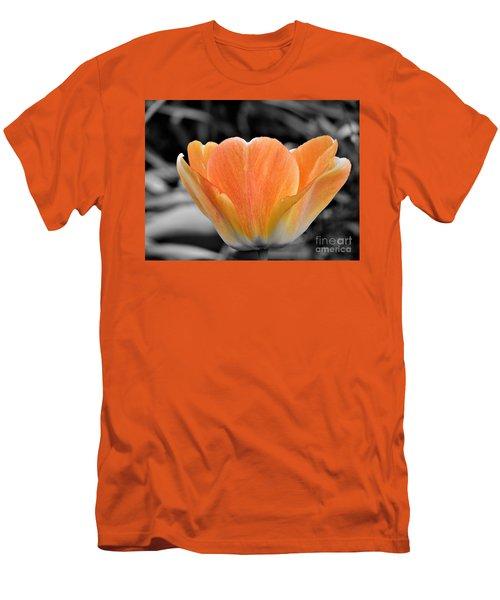 Orange Tea Cup Tulip Men's T-Shirt (Athletic Fit)