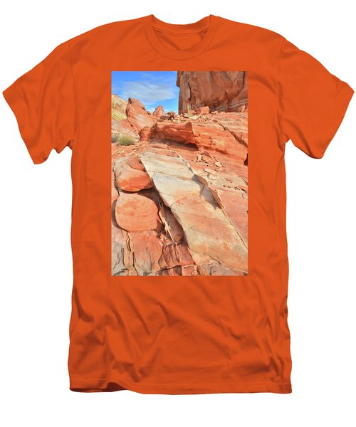 Orange Valley In Valley Of Fire Men's T-Shirt (Slim Fit) by Ray Mathis