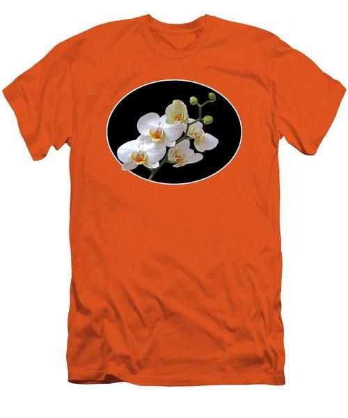 Orchids On Black And Orange Men's T-Shirt (Slim Fit) by Gill Billington