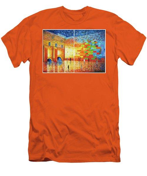 Men's T-Shirt (Athletic Fit) featuring the painting Original Western Wall Jerusalem Wailing Wall Acrylic 2 Panels by Georgeta Blanaru