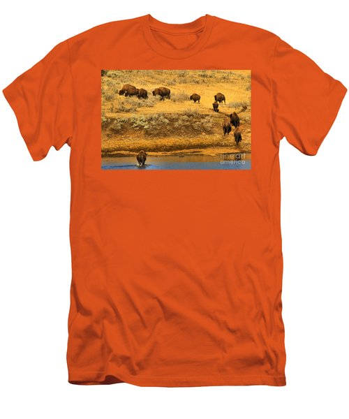 Men's T-Shirt (Slim Fit) featuring the photograph Over The River And Up The Hill by Adam Jewell