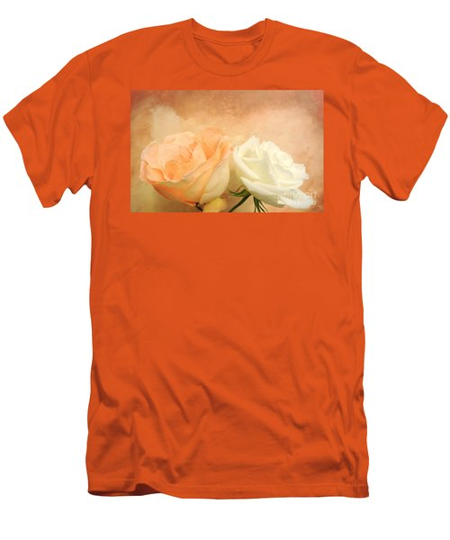 Pale Peach And White Roses Men's T-Shirt (Slim Fit) by Marsha Heiken