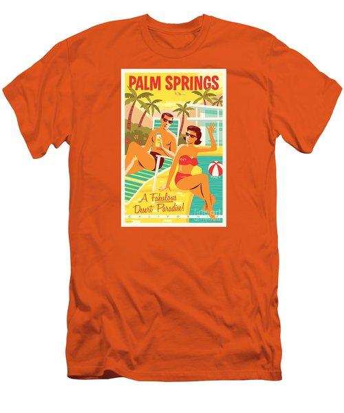 Palm Springs Retro Travel Poster Men's T-Shirt (Slim Fit) by Jim Zahniser