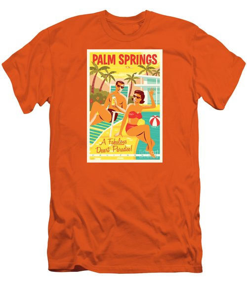 Palm Springs Retro Travel Poster Men's T-Shirt (Athletic Fit)