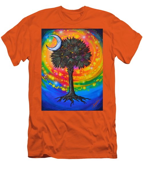 Men's T-Shirt (Slim Fit) featuring the painting Palmetto Tree Of Life by Agata Lindquist