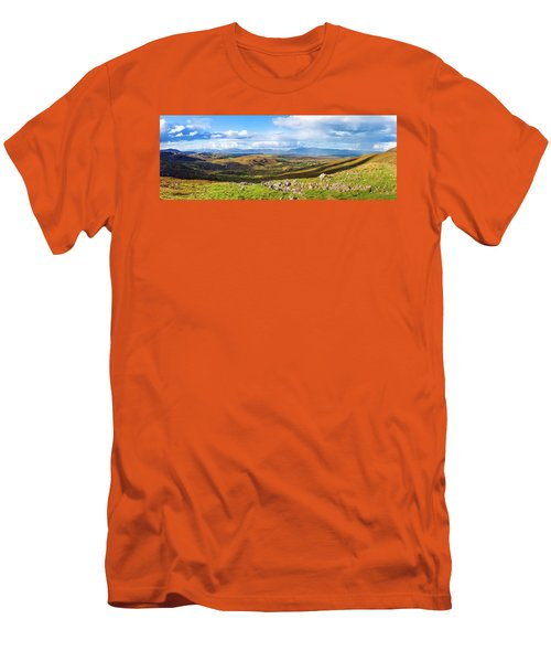 Men's T-Shirt (Slim Fit) featuring the photograph Panorama Of A Colourful Undulating Irish Landscape In Kerry by Semmick Photo