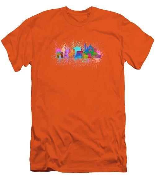Paris Skyline Paint Splatter Color Illustration Men's T-Shirt (Slim Fit) by Jit Lim