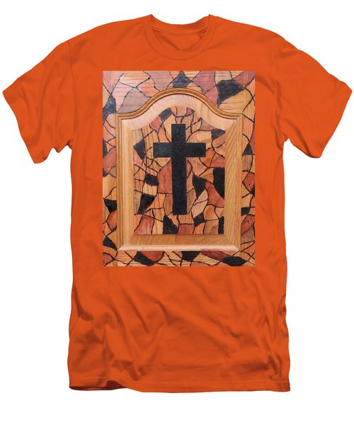 Men's T-Shirt (Slim Fit) featuring the pyrography Patchwork And Cross by Lisa Brandel
