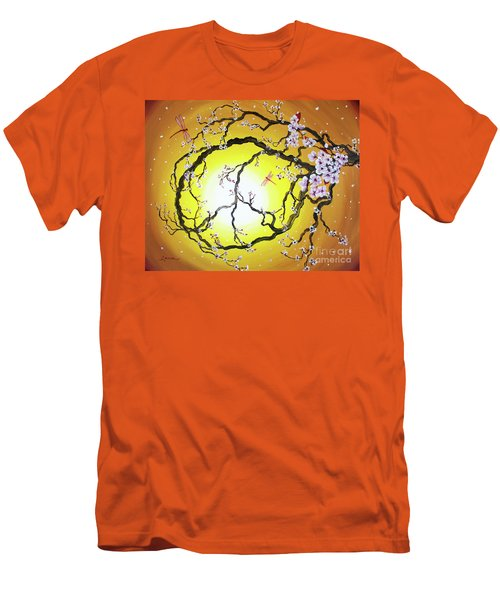 Peace Tree In Golden Glow  Men's T-Shirt (Slim Fit) by Laura Iverson