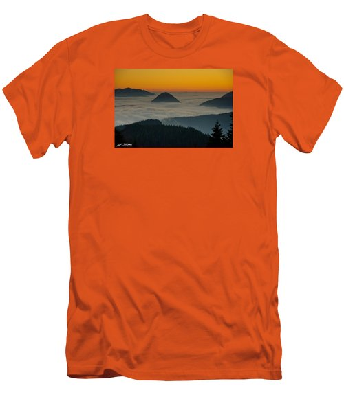 Peaks Above The Fog At Sunset Men's T-Shirt (Slim Fit) by Jeff Goulden