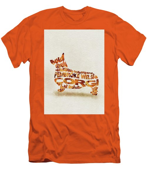 Men's T-Shirt (Athletic Fit) featuring the painting Pembroke Welsh Corgi Watercolor Painting / Typographic Art by Ayse and Deniz