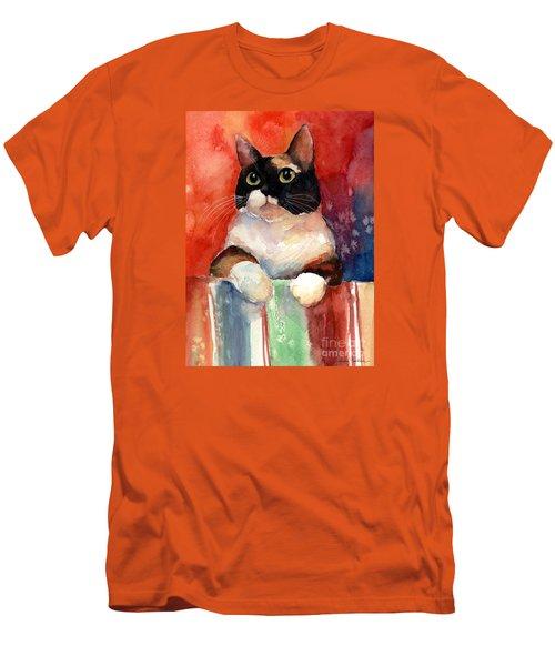 Pensive Calico Tubby Cat Watercolor Painting Men's T-Shirt (Slim Fit) by Svetlana Novikova