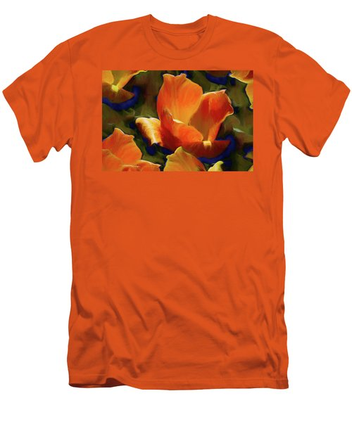 Men's T-Shirt (Athletic Fit) featuring the mixed media Petal Gesture 52  by Lynda Lehmann