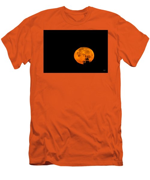 Men's T-Shirt (Slim Fit) featuring the photograph Pierhead Supermoon Silhouette by Everet Regal