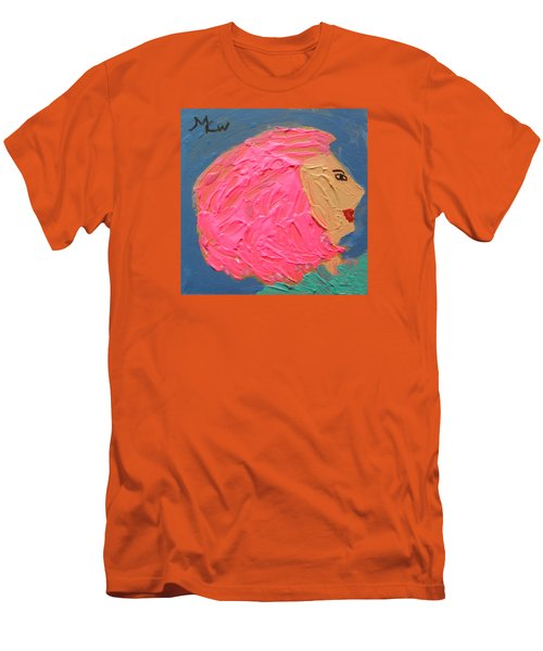 Men's T-Shirt (Slim Fit) featuring the painting Pink  Hair by Mary Carol Williams