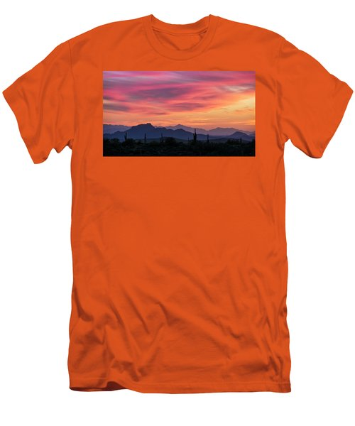 Men's T-Shirt (Slim Fit) featuring the photograph Pink Silhouette Sunset  by Saija Lehtonen